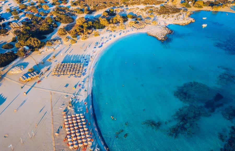 Elafonisi beach uitzicht van bovenaf