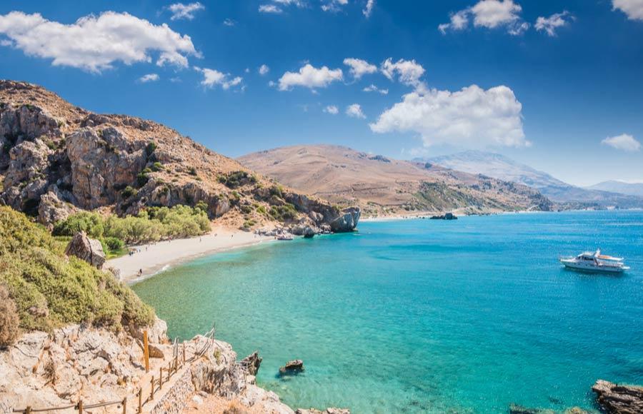 Het strand Preveli beach op Kreta