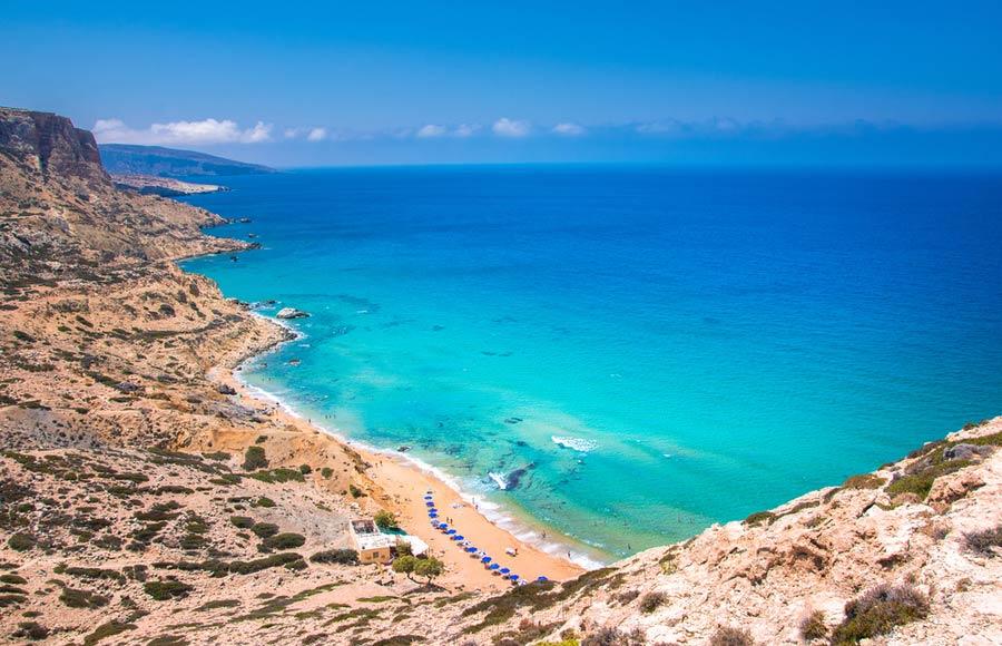 Red beach oftewel Kokki Ammos beach op Kreta