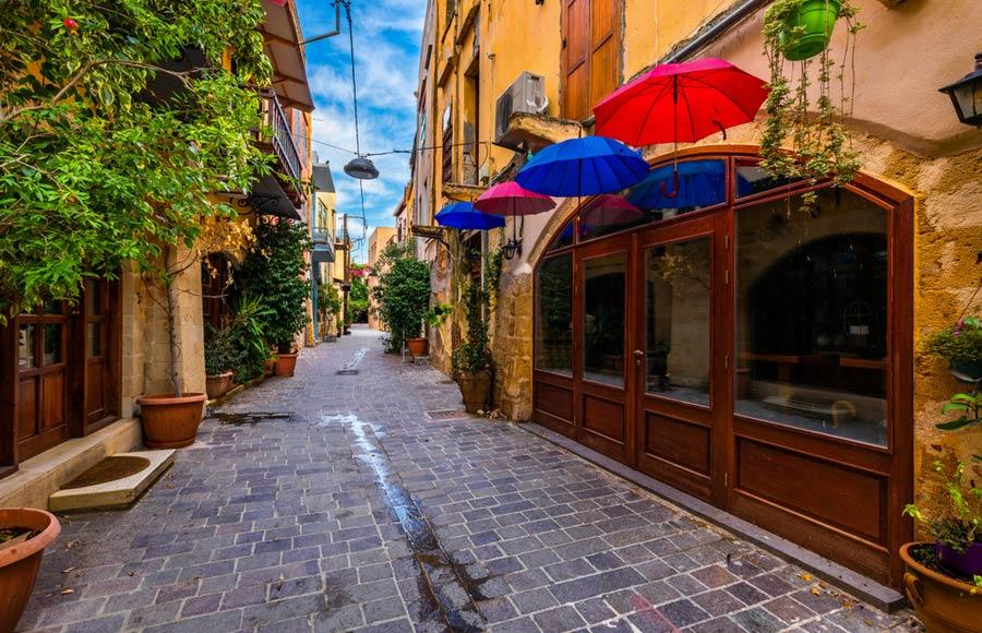 Straat in het centrum van Chania
