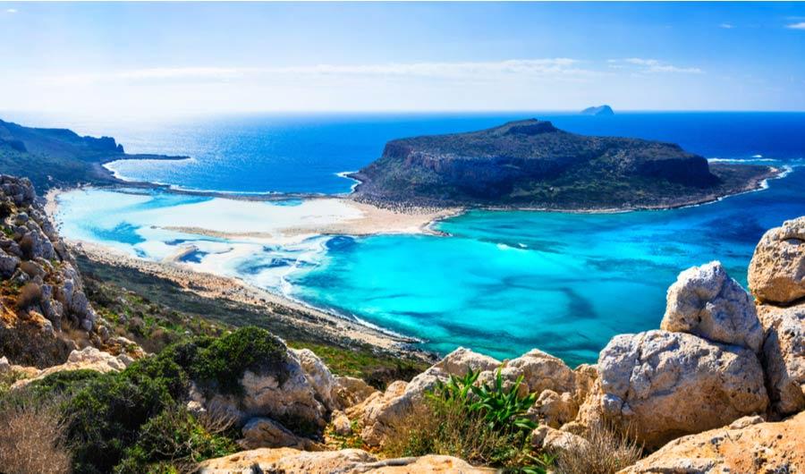 Uitzicht op de baai van Balos